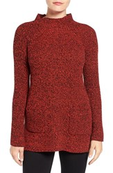 Chaus Women's Two Pocket Mock Neck Tunic Sweater Red Black Marble