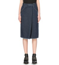 Allsaints Annett Folded Denim Skirt Dark Indigo Bl