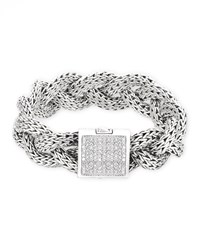 Classic Chain Silver Pave Diamond Large Braided Bracelet John Hardy Blue
