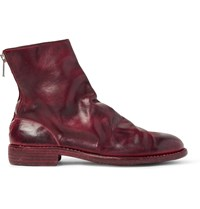 Guidi Burnished Leather Boots Burgundy