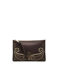 Michael Kors Rhea Studded Leather Large Zip Clutch Chocolate