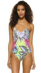 Mara Hoffman Maillot Lace Up Back One Piece Cactus Floral Citrus
