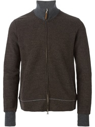 Eleventy Zip Front Cardigan Brown