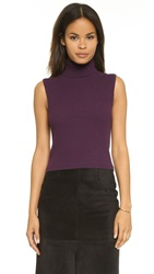 Elizabeth And James Fitted Sleeveless Turtleneck Top Plum