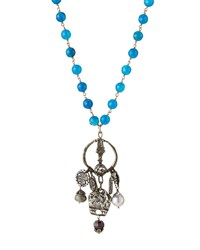 Love Heals Beaded Blue Jade Bronze Pendant Necklace