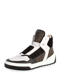Fendi Tank Zucca Print Leather High Top Sneaker White Blue Brown