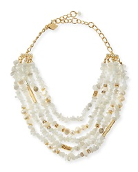 Multi Strand Agate And Pearl Necklace White Sequin