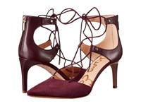 Sam Edelman Taylor Port Wine Dress Calf Leather Kid Suede Leather Women's Shoes Brown