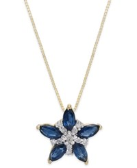Macy's Sapphire 1 1 4 Ct. T.W. And Diamond 1 10 Ct. T.W. Flower Pendant Necklace In 14K Gold Yellow Gold