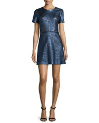Catherine Deane Short Sleeve Leather Front Cocktail Dress Metallic Navy
