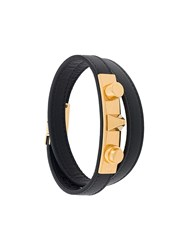 Saint Laurent 'Le Trois Clous' Double Wrap Bracelet Black