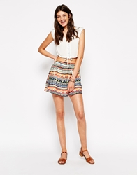 Daisy Street Skater Skirt In Geometric Print Multi