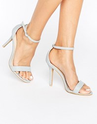 Glamorous Pale Grey Snake Print Two Part Heeled Sandals Pale Grey Snake