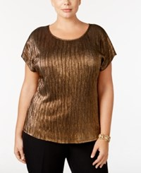 Ny Collection Plus Size Metallic Top Gold Gatsby