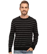 Nautica 9 Gauge Striped Crew True Black Men's Sweater