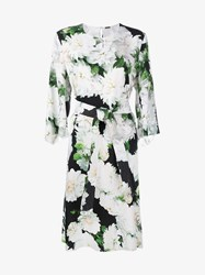 Adam By Adam Lippes Dahlia Floral Print Midi Dress Black White Green Multi Coloured Champagne