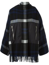 Cedric Charlier Fringed Checked Jacket Multicolour