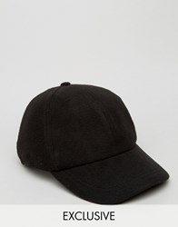Reclaimed Vintage Baseball Cap In Polar Fleece Black Black