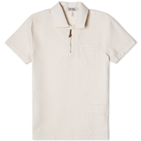 Fred Perry X Nigel Cabourn Half Zip Cellular Weave Polo Dirty White