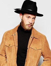 Asos Leather Hat Band In Black And Silver Black