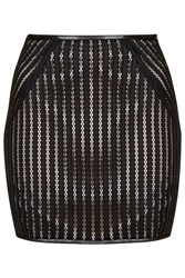 Down The Line Black Stripy Lace Miniskirt With Nude Lining By Goldie