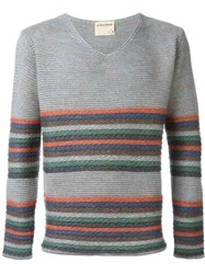 Al Duca D'aosta 1902 Striped V Neck Jumper Grey