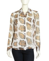 Equipment Brett Leopard Print Chiffon Blouse Bright Whi