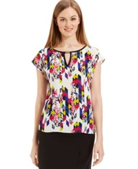 Laundry By Shelli Segal Cap Sleeve Keyhole Top