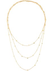 Natasha Collis Triple Chain Nugget Necklace Metallic