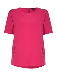 Armani Jeans Short Sleeve Round Neck Top With Pockets Fuchsia