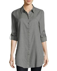 Neiman Marcus Roll Tab Side Slit Blouse Grey