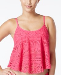 Kenneth Cole Reaction Crochet Popover Tankini Top Women's Swimsuit Pink
