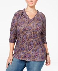 Lucky Brand Trendy Plus Size Paisley Print Peasant Top Red Multi