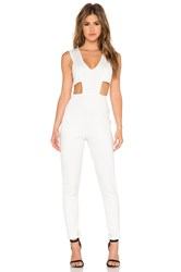 Twin Sister Plunge Front Jumpsuit White