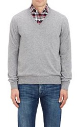Barneys New York Cashmere V Neck Sweater Grey Size Extra Large