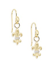 Jude Frances Diamond And 18K Yellow Gold Venetian Fleur De Lis Drop Earrings