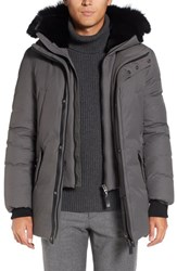 Mackage Men's 'Edward' Down Parka With Genuine Coyote And Rabbit Fur Trim Slate
