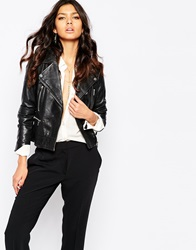 Mango Real Leather Biker Jacket Black