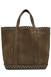 Vanessa Bruno Suede Tote With Eyelets Green