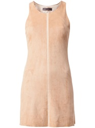 Stouls Striped Detail Mini Dress Nude And Neutrals