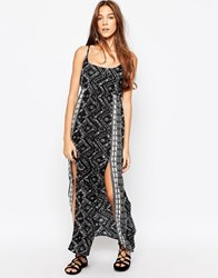 Diya Maxi Dress With Side Split Black White