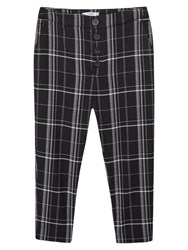 Mango Checked Cropped Trousers Black