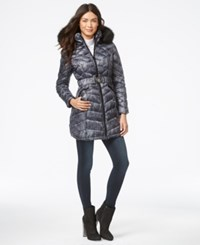 Laundry By Shelli Segal Faux Fur Hood Belted Puffer Down Coat Grey White