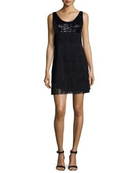 Aidan Mattox Sequin And Fringe Tank Dress Black Women's