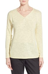 Women's Eileen Fisher Organic Linen And Cotton V Neck Sweater Daisy