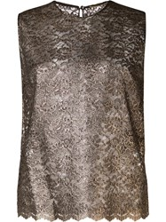 Saint Laurent Floral Lace Sleeveless Top Metallic