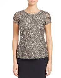 Adrianna Papell Beaded Mesh Short Sleeve Top Lead