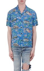 Saint Laurent Men's Hawaiian Print Bowling Shirt No Color