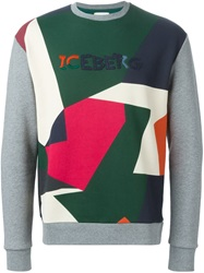 Iceberg Collage Print Sweatshirt Grey