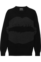 Markus Lupfer Natalie Intarsia Metallic Wool Sweater Black